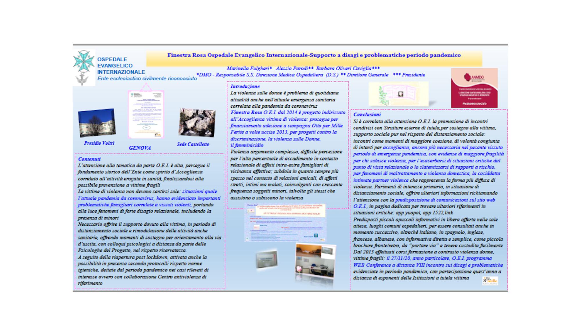 Fulgheri – FINESTRA ROSA OSPEDALE EVANGELICO INTERNAZIONALE – SUPPORTO A DISAGI E PROBLEMATICHE PERIODO PANDEMICO