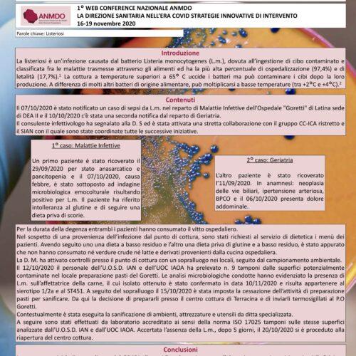 Marrone –  TEMPESTIVA GESTIONE DI UN CLUSTER DI LISTERIOSI PRESSO UN P.O: EFFICACIA DELLA COLLABORAZIONE CC-ICA E SIAN